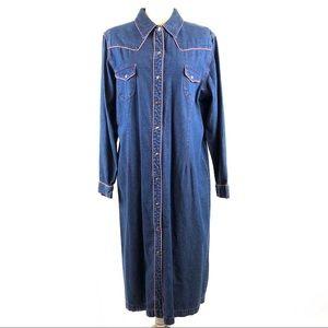 Blue J. Vintage Plaid Trim Denim Jean Shirtdress